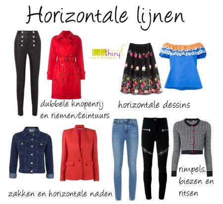 Horizontale lijnen verkorten en verbreden - lijnen in kleding (2)