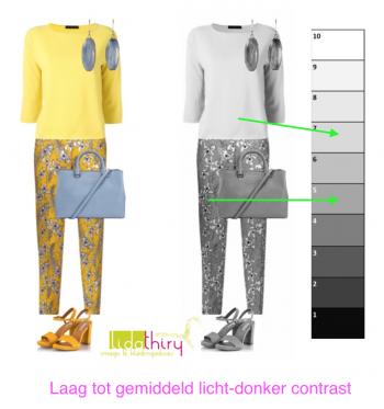 Maak eens een zwart-wit foto van je outfit - het licht-donker contrast