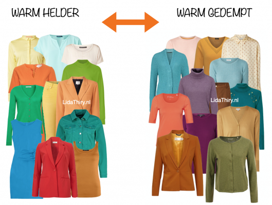 Warm-helder versus warm-gedempt kleurtype